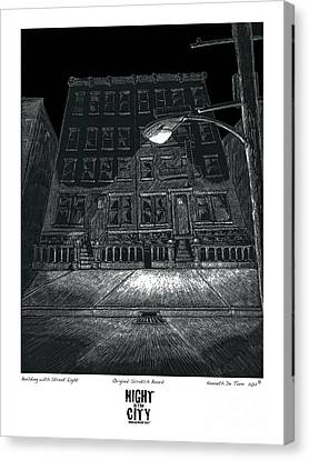 Building With Street Light Canvas Print