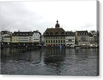 Buildings And River Reuss In Lucerne In Switzerland Canvas Print by Ashish Agarwal