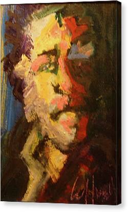 Canvas Print featuring the painting Bukowski by Les Leffingwell