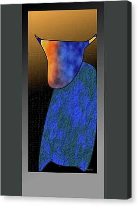 Canvas Print featuring the digital art Bull by Asok Mukhopadhyay