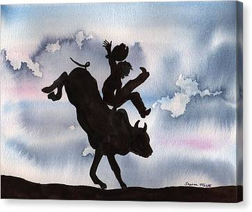 Canvas Print featuring the painting Bull Riding by Sharon Mick