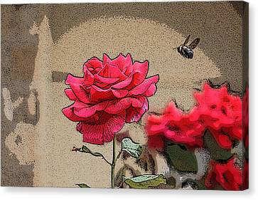 Canvas Print featuring the photograph Bumble Bee And Rose by Donna  Smith