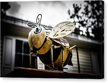 Bumble Bee Of Happiness Metal Statue Canvas Print