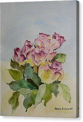 Canvas Print featuring the painting Bunch Of Roses by Geeta Biswas