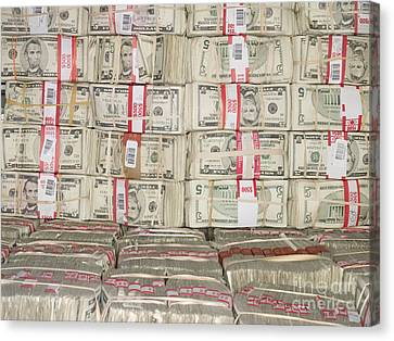 Bundles Of Five Dollar Bills Canvas Print by Adam Crowley