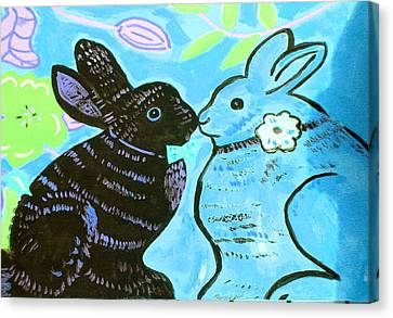 Bunnies In Love Canvas Print by Patricia Lazar