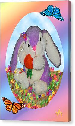 Bunny And Strawberry Canvas Print