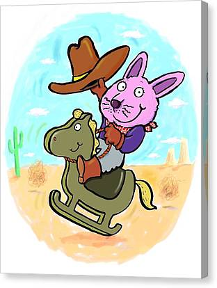 Bunny Cowboy Canvas Print by Scott Nelson