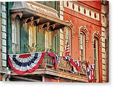 Canvas Print featuring the photograph Bunting In Canton Square  by Jim Albritton