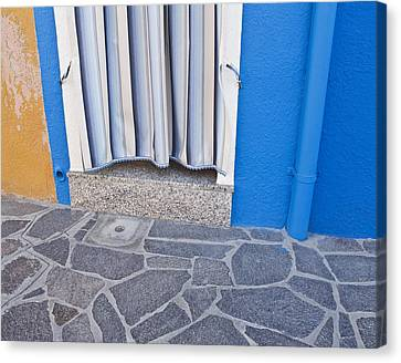 Burano Venice Italy Photograph Blue White Orange Wall Art Canvas Print by Artecco Fine Art Photography