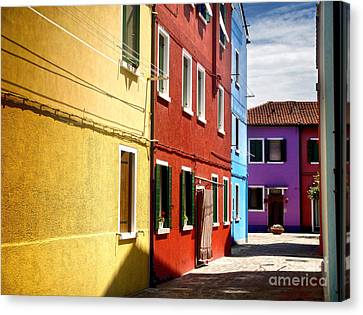 Burano Island - Colorful Houses Canvas Print by Gregory Dyer