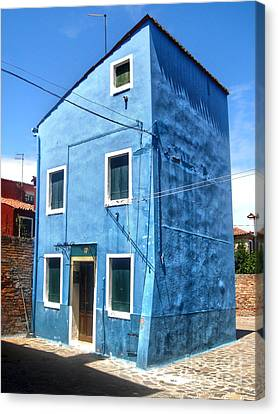 Burano Island - Strange Blue House Canvas Print by Gregory Dyer