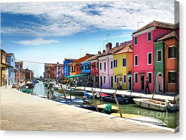 Burano Island Canal Canvas Print by Gregory Dyer