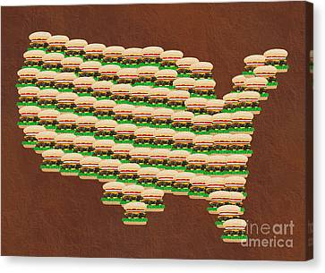 Burger Town Usa Map Brown Canvas Print by Andee Design