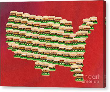 Burger Town Usa Map Red Canvas Print by Andee Design