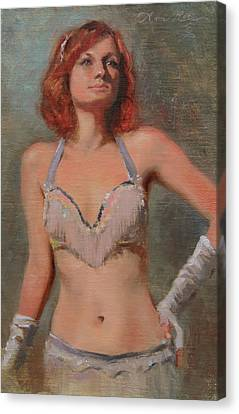 Burlesque Dancer Canvas Print by Anna Rose Bain