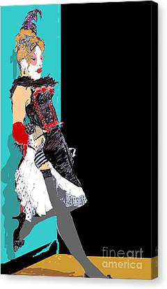 Burlesque Drawing 2 With Colour Canvas Print by Joanne Claxton