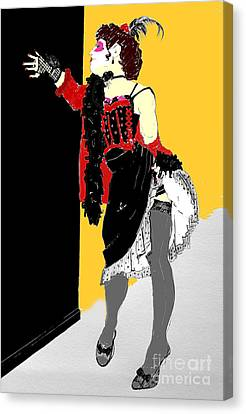 Burlesque Drawing In Colour Canvas Print by Joanne Claxton