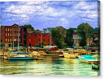 Canvas Print featuring the photograph Burlington Harbor In Vermont by Gina Cormier