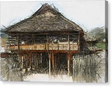Burmese Village House 1 Canvas Print by Fran Woods