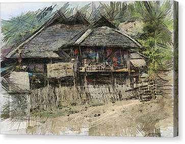 Burmese Village House 2 Canvas Print by Fran Woods