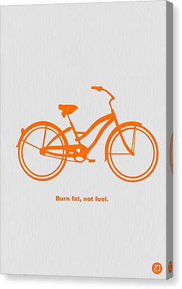 Bicycle Canvas Print - Burn Fat Not Fuel by Naxart Studio