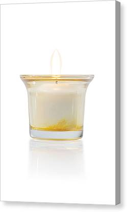 Burning Candle In Glass Holder Canvas Print