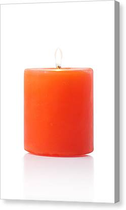 Burning Red Candle Canvas Print