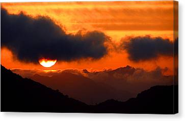 Burning Sunset  Canvas Print by Catherine Natalia  Roche