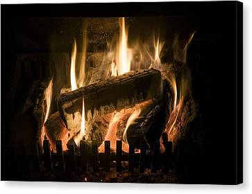 Burning Wood On An Open Fire Canvas Print by Sheila Terry