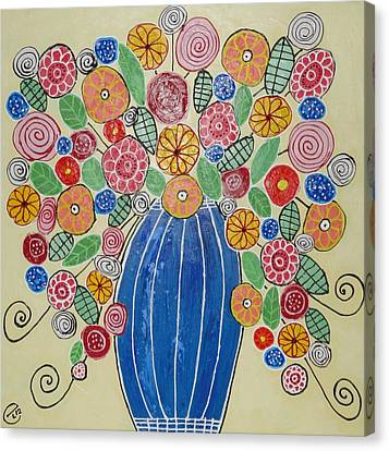 Burst Of Flowers Canvas Print by Elizabeth Langreiter