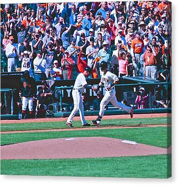 Buster Posey Runs Home Canvas Print by Eric Tressler