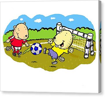 Busy Beaver Soccer Canvas Print by Scott Nelson
