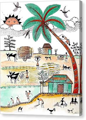 Busy Warli Day Canvas Print by Anjali Vaidya