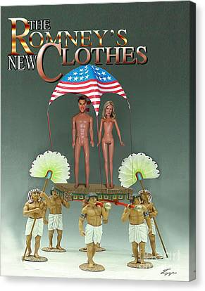 But-but They Are Not Wearing Any Clothes - Mitt Ken And Anne Barbie Romney  Canvas Print by Reggie Duffie