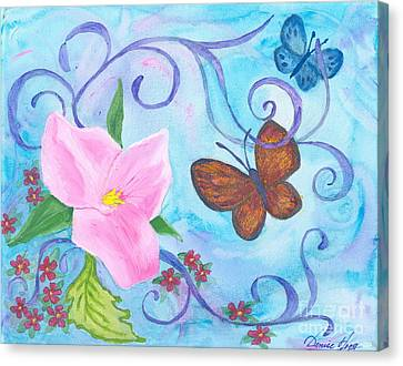 Butterflies And Flowers Canvas Print by Denise Hoag