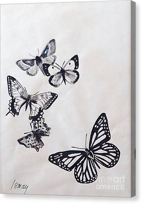 Canvas Print featuring the drawing Butterflies And Moths by Rod Ismay