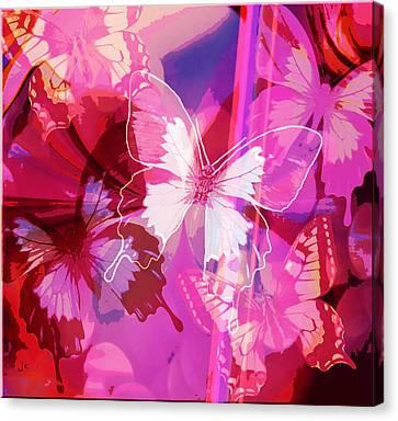 Butterflies En Rouge Canvas Print by Jan Steadman-Jackson