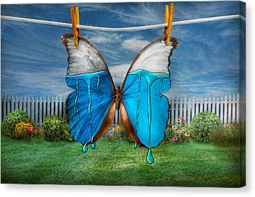 Butterfly - Morpho - I Hate It When The Colors Run Canvas Print by Mike Savad