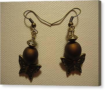 Butterfly Brown Earrings Canvas Print by Jenna Green