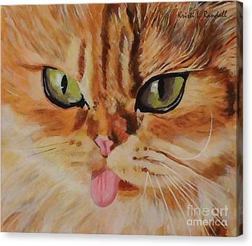 Butterscotch Cute Orange Cat Face Canvas Print by Kristi L Randall