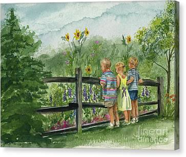 Canvas Print featuring the painting By The Garden Fence  by Nancy Patterson