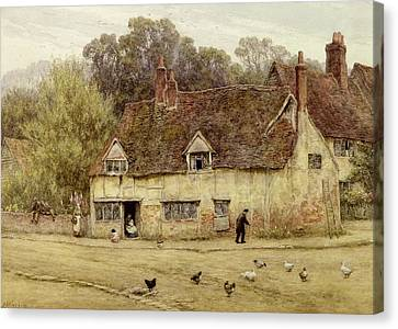 By The Old Cottage Canvas Print by Helen Allingham
