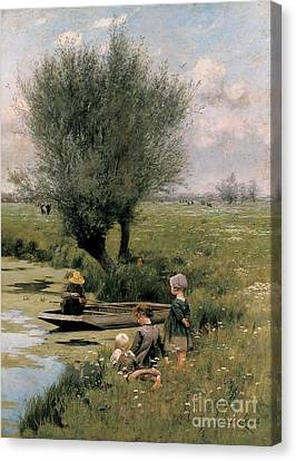 Standing Canvas Print - By The Riverside by Emile Claus