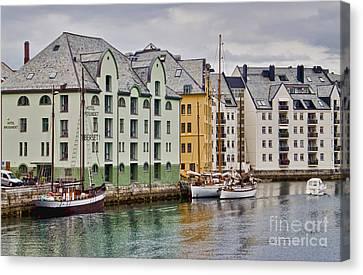 By The Waterside Alesund Norway Canvas Print