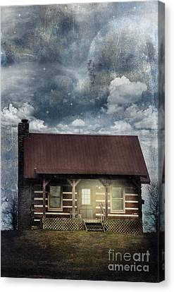 Cabin At Night Canvas Print by Stephanie Frey