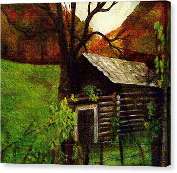 Cabin By A Hillside Canvas Print by Christy Saunders Church