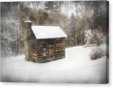 Cabin In The Fog Canvas Print by Christine Annas