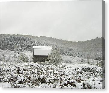 Canvas Print featuring the photograph Cabin In The Snow by Michael Waters