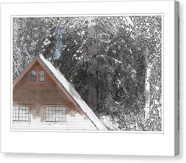Mountain Cabin Canvas Print - Cabin In The Winter by Brandon Bourdages